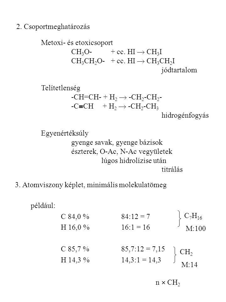 2. Csoportmeghatározás Metoxi- és etoxicsoport. CH3O- + cc. HI  CH3I. CH3CH2O- + cc. HI  CH3CH2I.