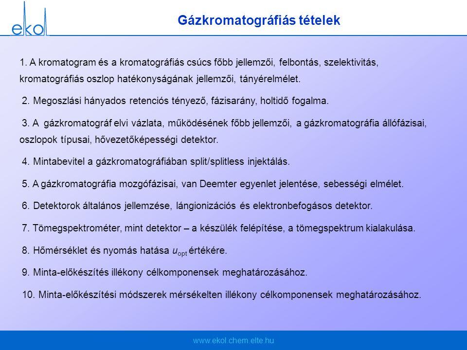 Gázkromatográfiás tételek
