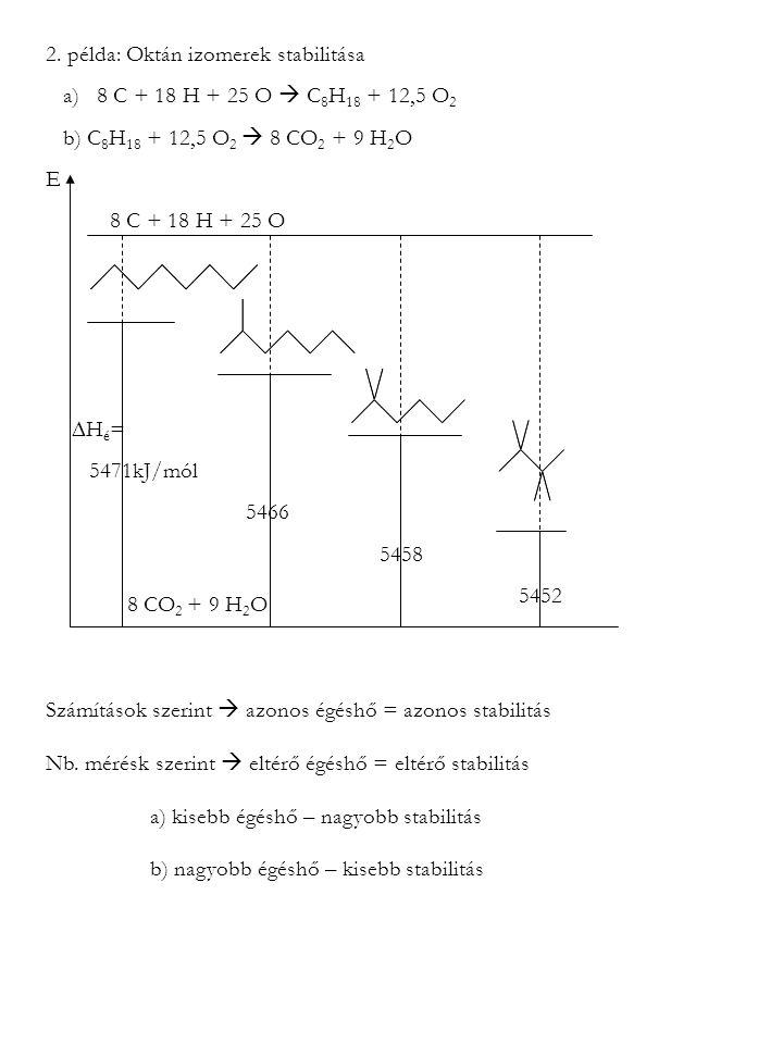 2. példa: Oktán izomerek stabilitása