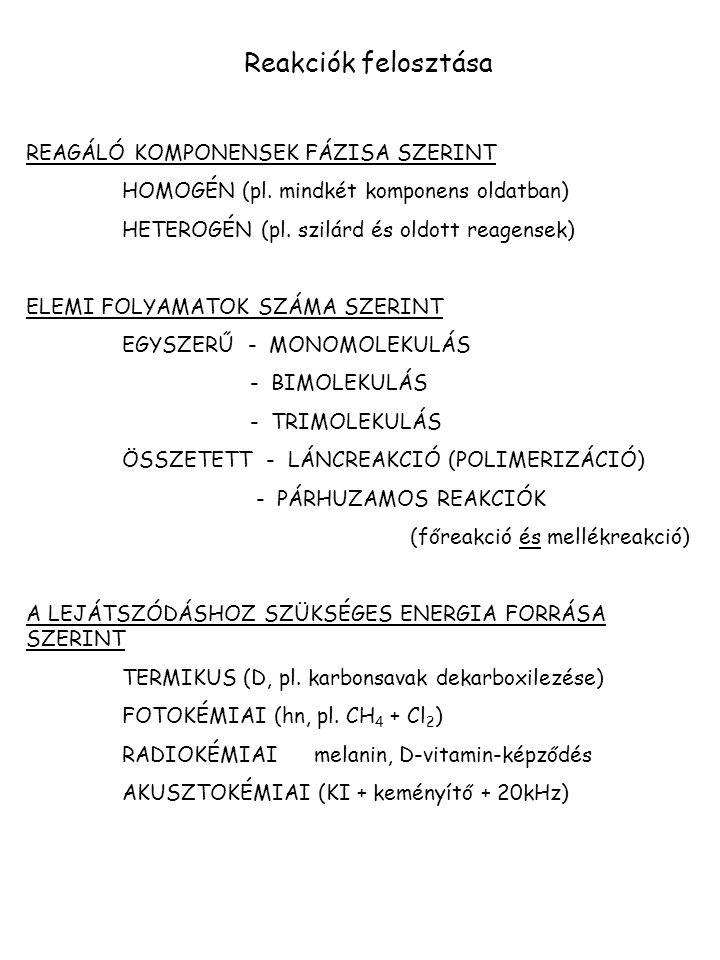 Reakciók felosztása REAGÁLÓ KOMPONENSEK FÁZISA SZERINT
