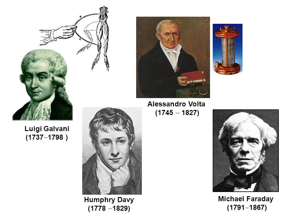 Alessandro Volta (1745  1827) Luigi Galvani. (17371798 ) Humphry Davy. (1778 1829) Michael Faraday.