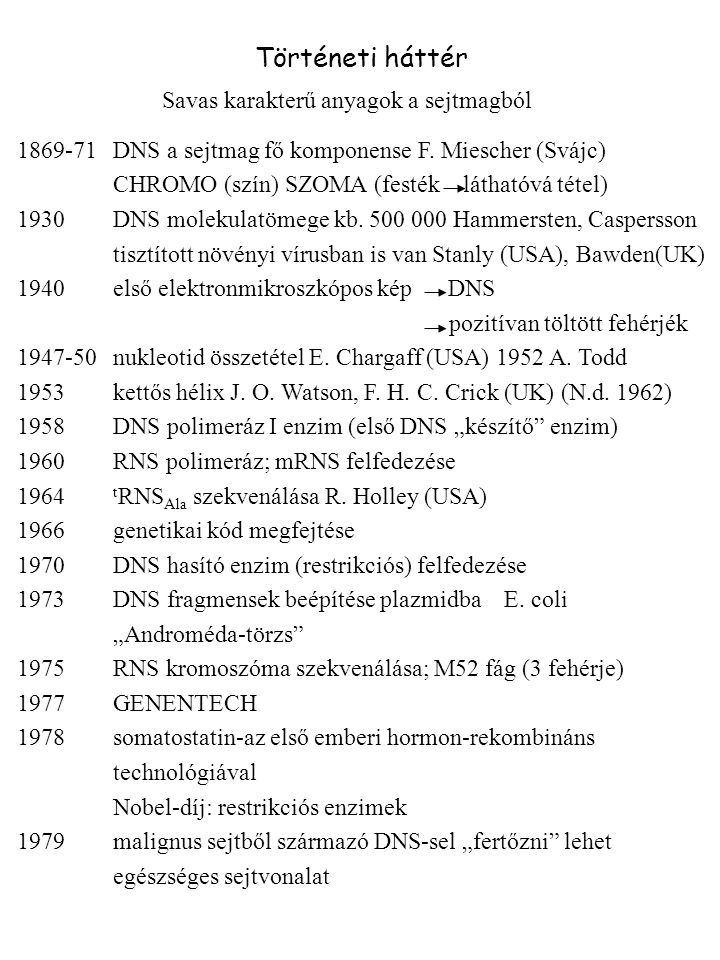 Történeti háttér Savas karakterű anyagok a sejtmagból