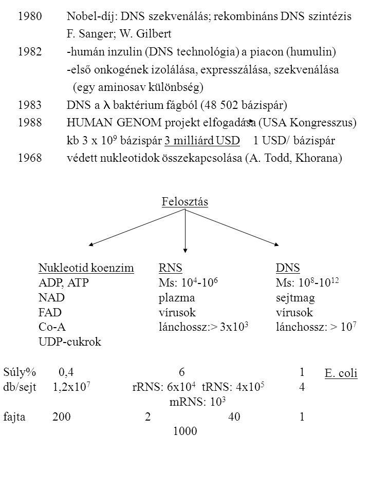 1980. Nobel-díj: DNS szekvenálás; rekombináns DNS szintézis. F
