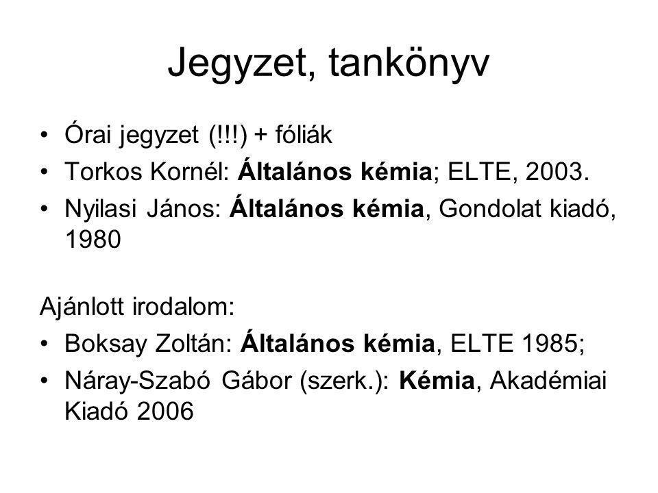 Jegyzet, tankönyv Órai jegyzet (!!!) + fóliák