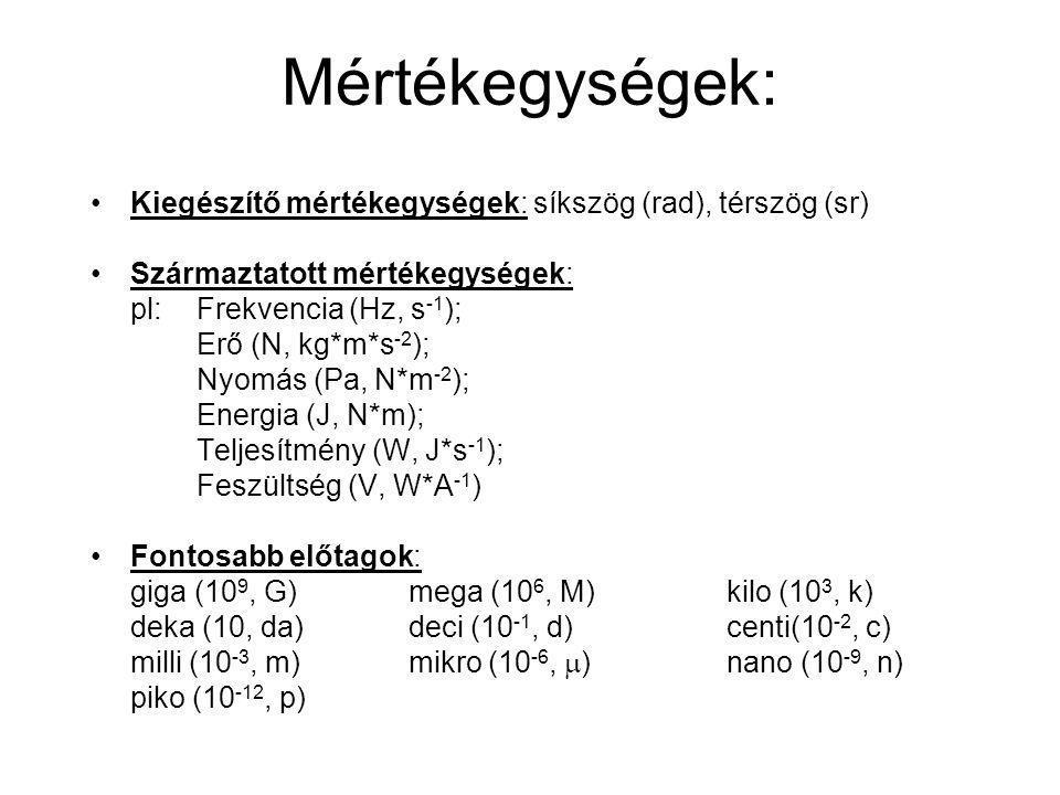 Mértékegységek: Kiegészítő mértékegységek: síkszög (rad), térszög (sr)