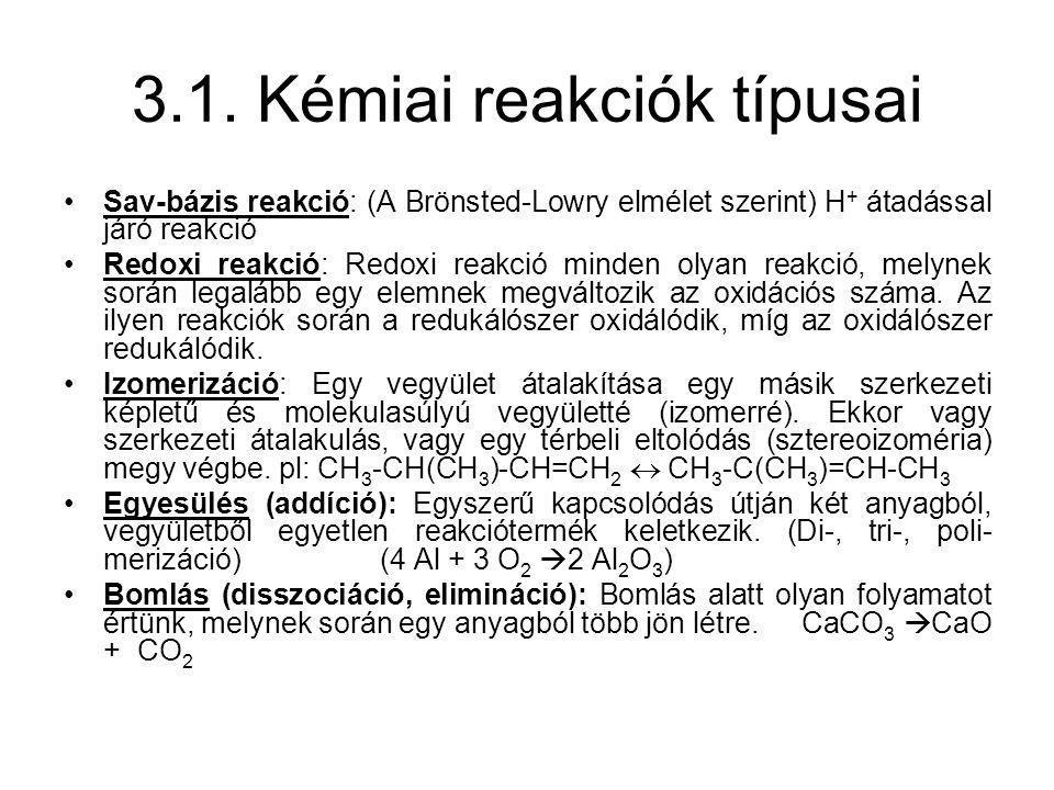 3.1. Kémiai reakciók típusai
