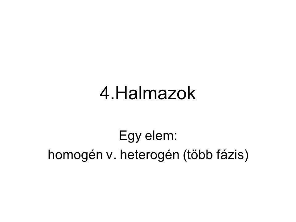Egy elem: homogén v. heterogén (több fázis)