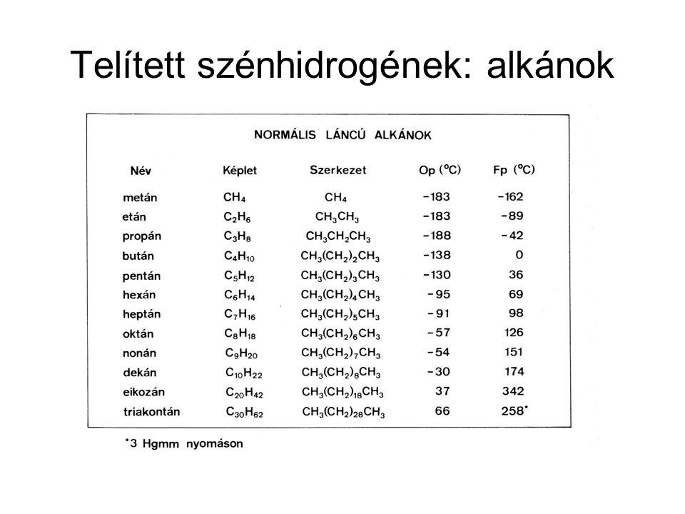 Telített szénhidrogének: alkánok