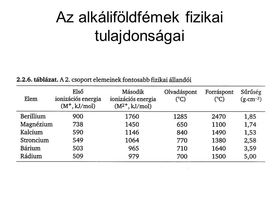 Az alkáliföldfémek fizikai tulajdonságai