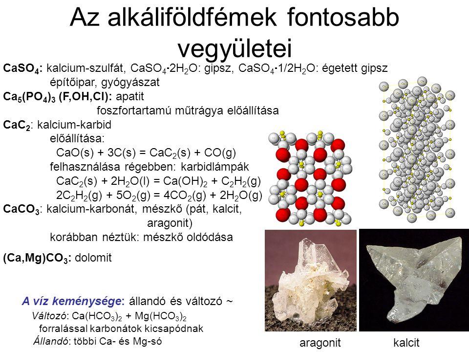 Az alkáliföldfémek fontosabb vegyületei