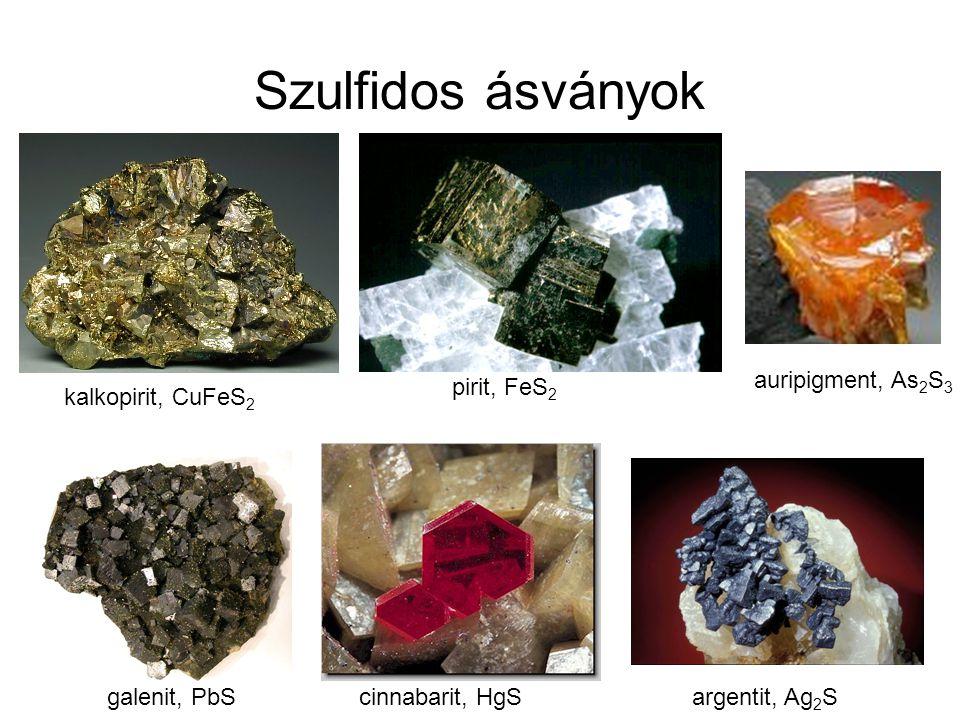 Szulfidos ásványok auripigment, As2S3 pirit, FeS2 kalkopirit, CuFeS2