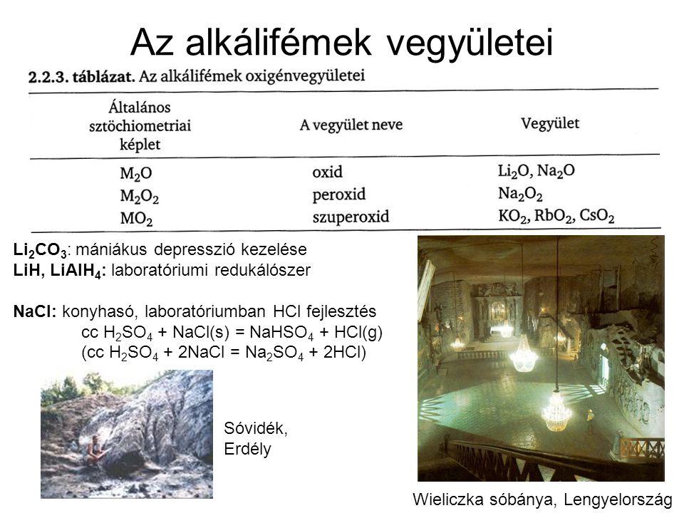 Az alkálifémek vegyületei