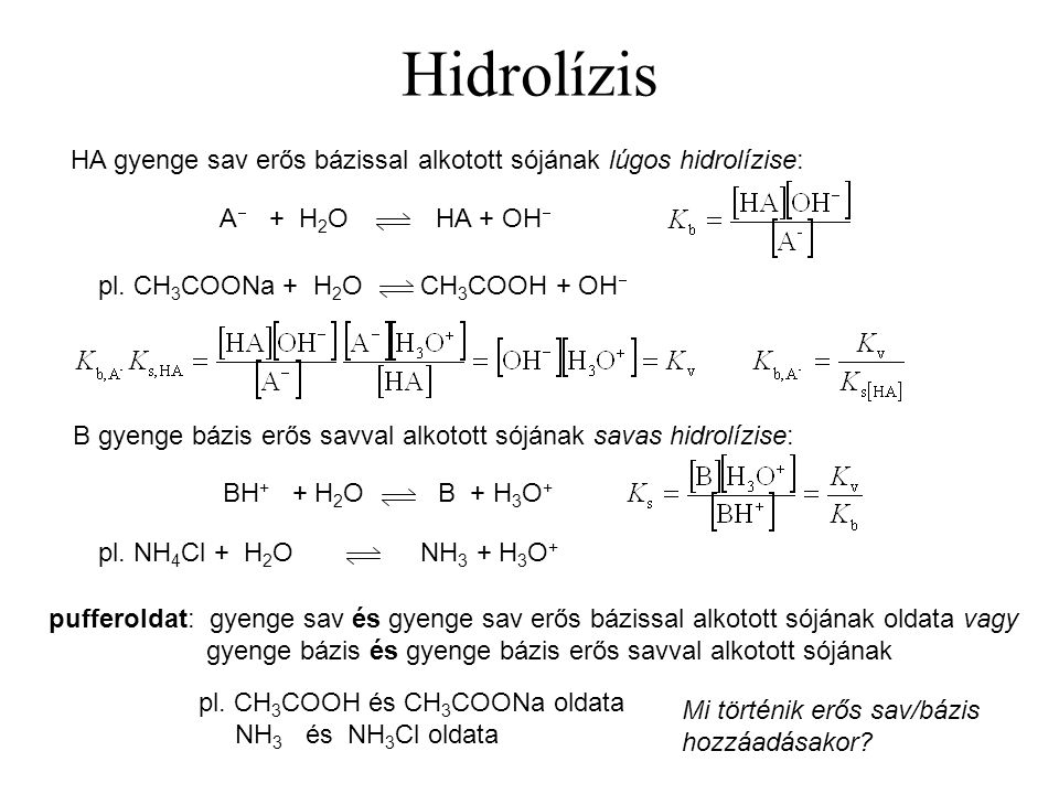 Hidrolízis HA gyenge sav erős bázissal alkotott sójának lúgos hidrolízise: A + H2O HA + OH pl. CH3COONa + H2O CH3COOH + OH