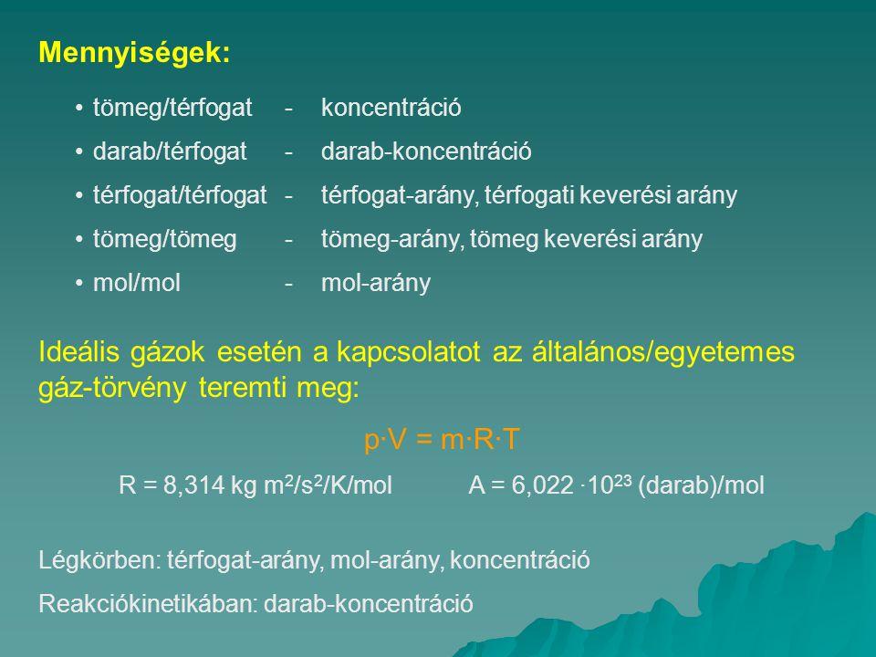 R = 8,314 kg m2/s2/K/mol A = 6,022 ·1023 (darab)/mol