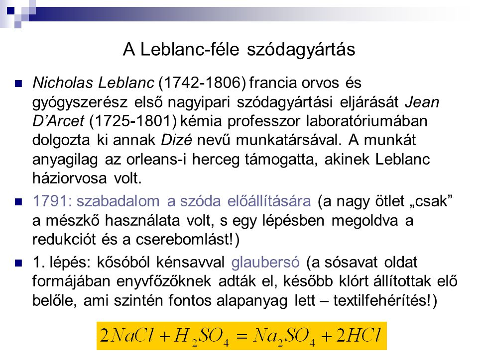 A Leblanc-féle szódagyártás