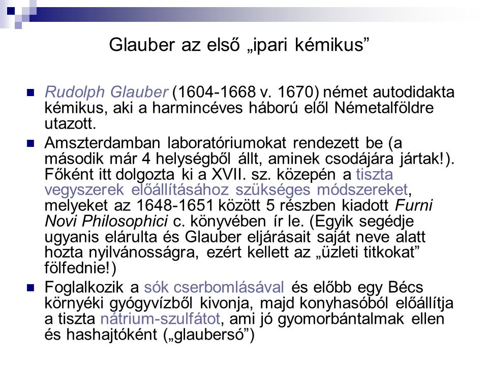 "Glauber az első ""ipari kémikus"