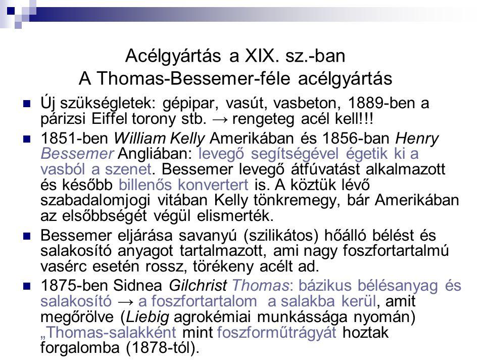 Acélgyártás a XIX. sz.-ban A Thomas-Bessemer-féle acélgyártás