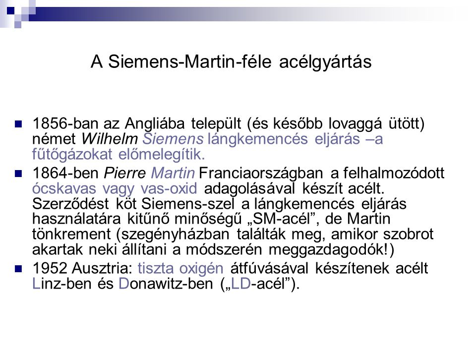 A Siemens-Martin-féle acélgyártás