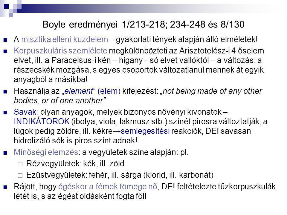 Boyle eredményei 1/213-218; 234-248 és 8/130
