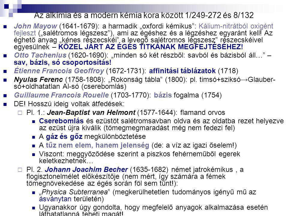 Az alkímia és a modern kémia kora között 1/249-272 és 8/132