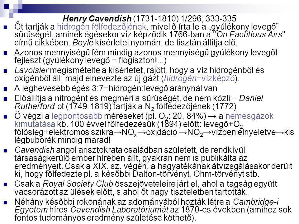 Henry Cavendish (1731-1810) 1/296; 333-335