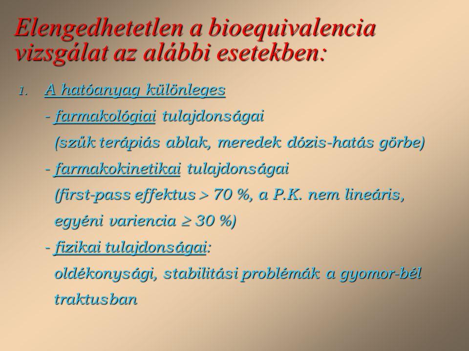 Elengedhetetlen a bioequivalencia vizsgálat az alábbi esetekben: