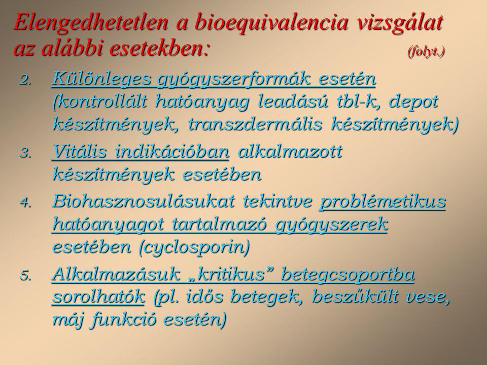 Elengedhetetlen a bioequivalencia vizsgálat az alábbi esetekben: (folyt.)