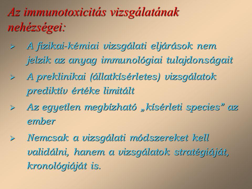 Az immunotoxicitás vizsgálatának nehézségei: