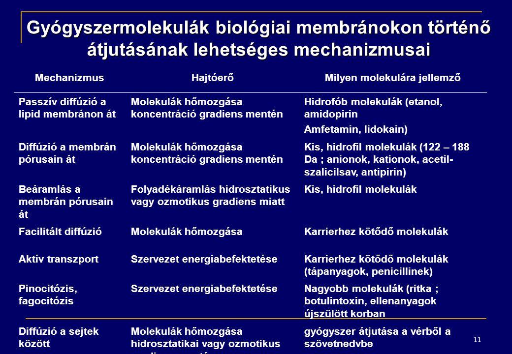 Gyógyszermolekulák biológiai membránokon történő