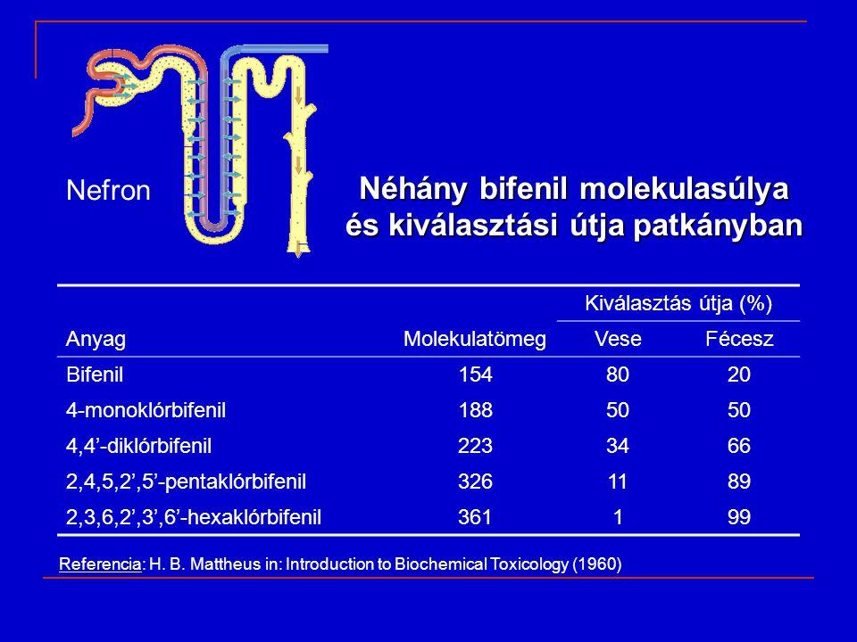 Néhány bifenil molekulasúlya és kiválasztási útja patkányban