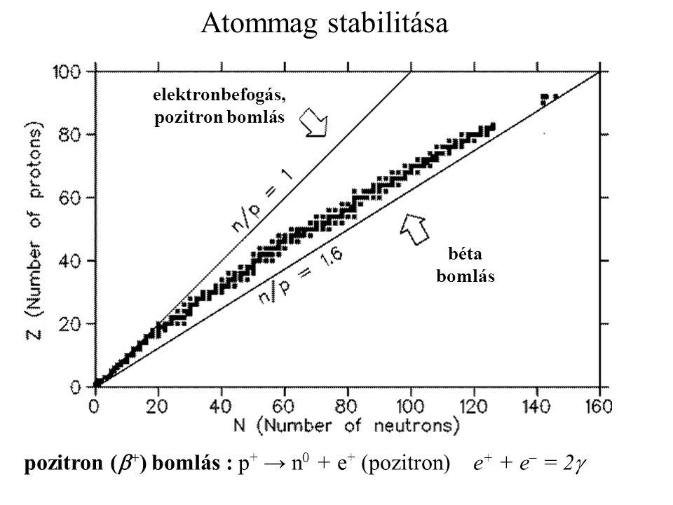 Atommag stabilitása elektronbefogás, pozitron bomlás.