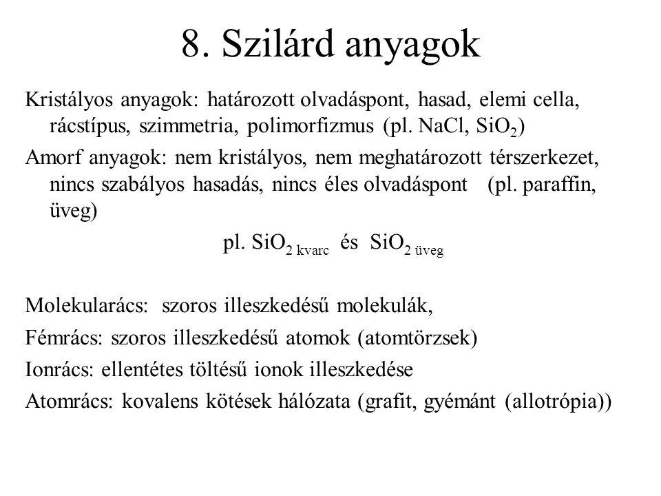 8. Szilárd anyagok Kristályos anyagok: határozott olvadáspont, hasad, elemi cella, rácstípus, szimmetria, polimorfizmus (pl. NaCl, SiO2)