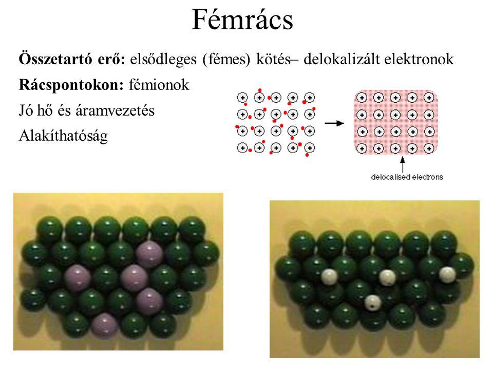 Fémrács Összetartó erő: elsődleges (fémes) kötés– delokalizált elektronok. Rácspontokon: fémionok.