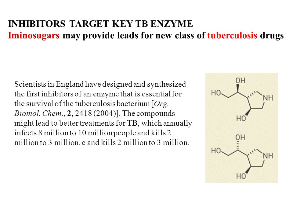 INHIBITORS TARGET KEY TB ENZYME Iminosugars may provide leads for new class of tuberculosis drugs