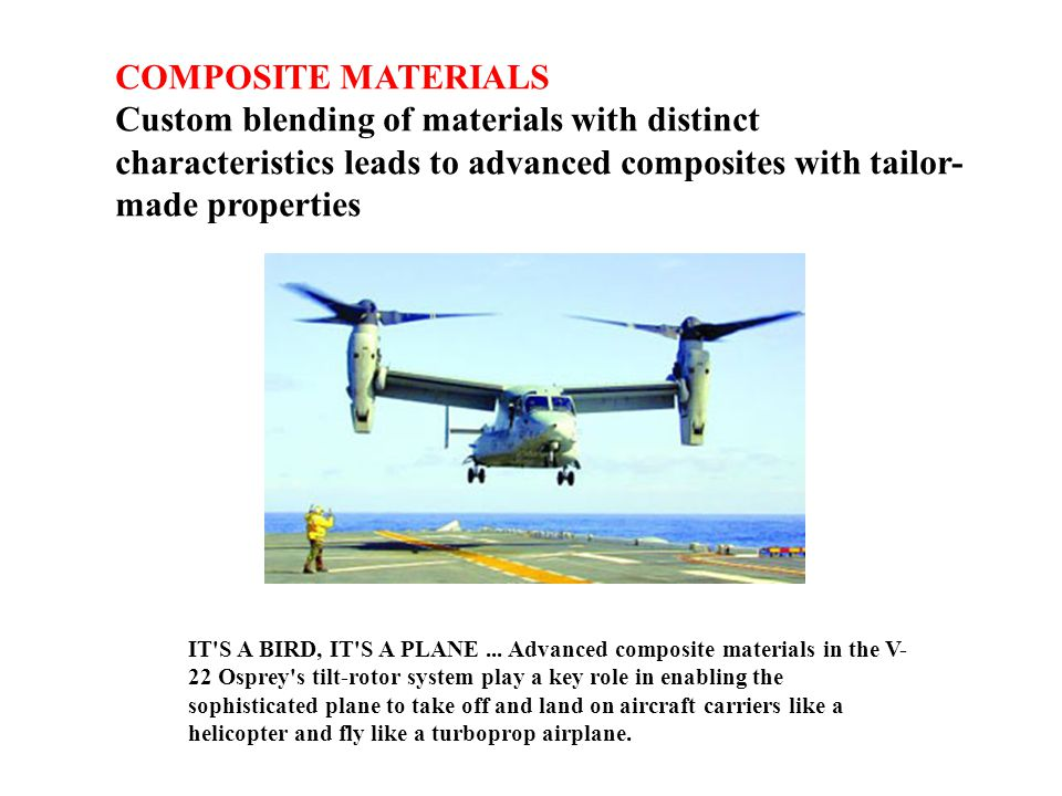 COMPOSITE MATERIALS Custom blending of materials with distinct characteristics leads to advanced composites with tailor-made properties