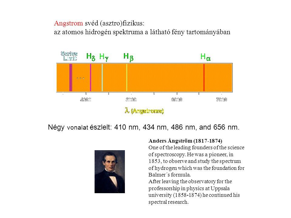 Négy vonalat észlelt: 410 nm, 434 nm, 486 nm, and 656 nm.