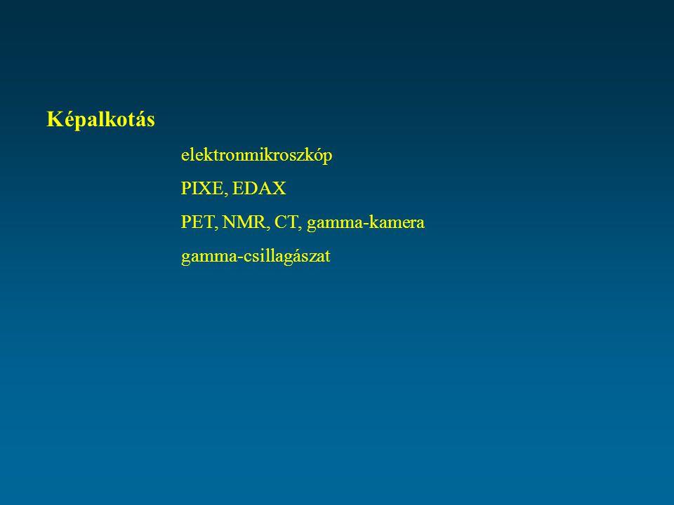 Képalkotás elektronmikroszkóp PIXE, EDAX PET, NMR, CT, gamma-kamera