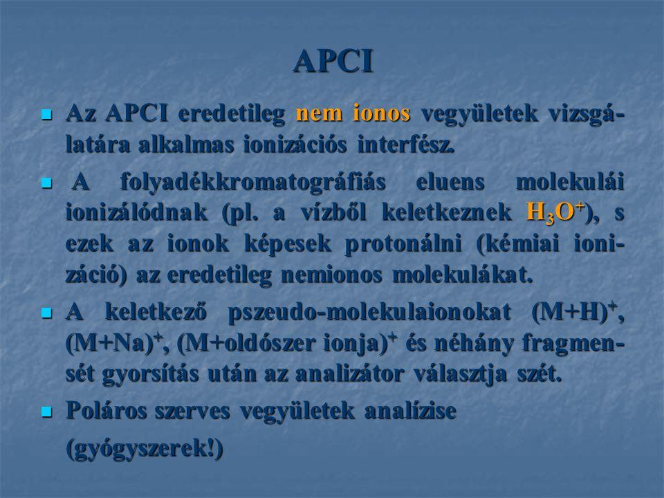 APCI Az APCI eredetileg nem ionos vegyületek vizsgá-latára alkalmas ionizációs interfész.