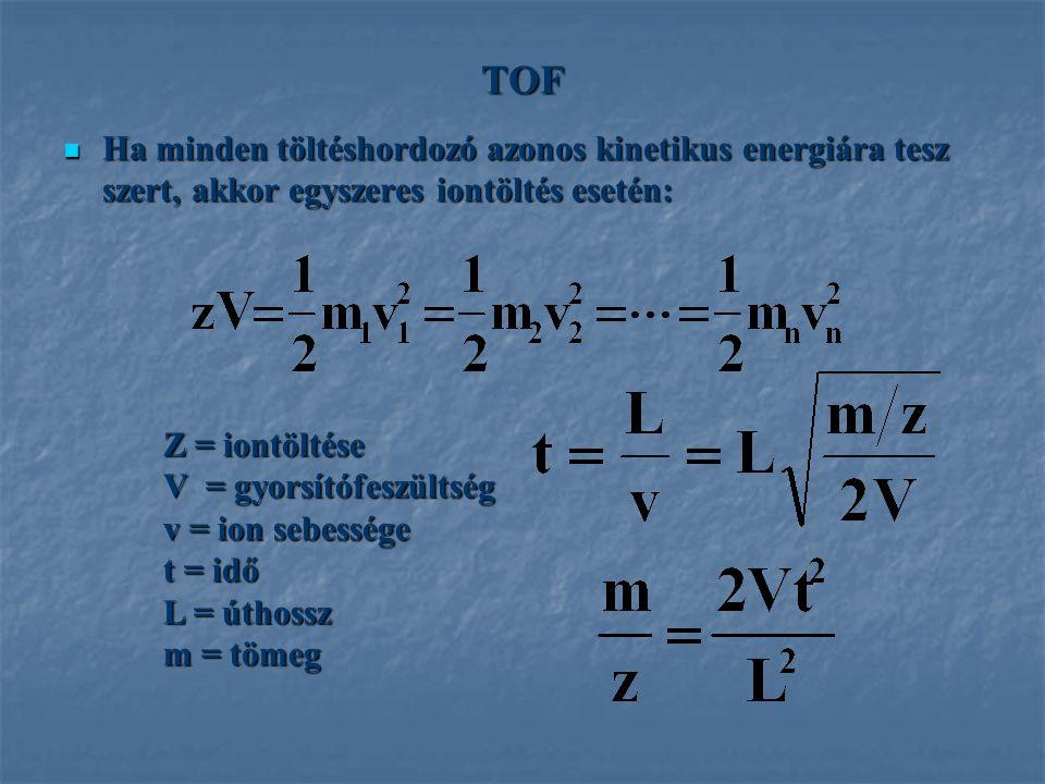 TOF Ha minden töltéshordozó azonos kinetikus energiára tesz szert, akkor egyszeres iontöltés esetén: