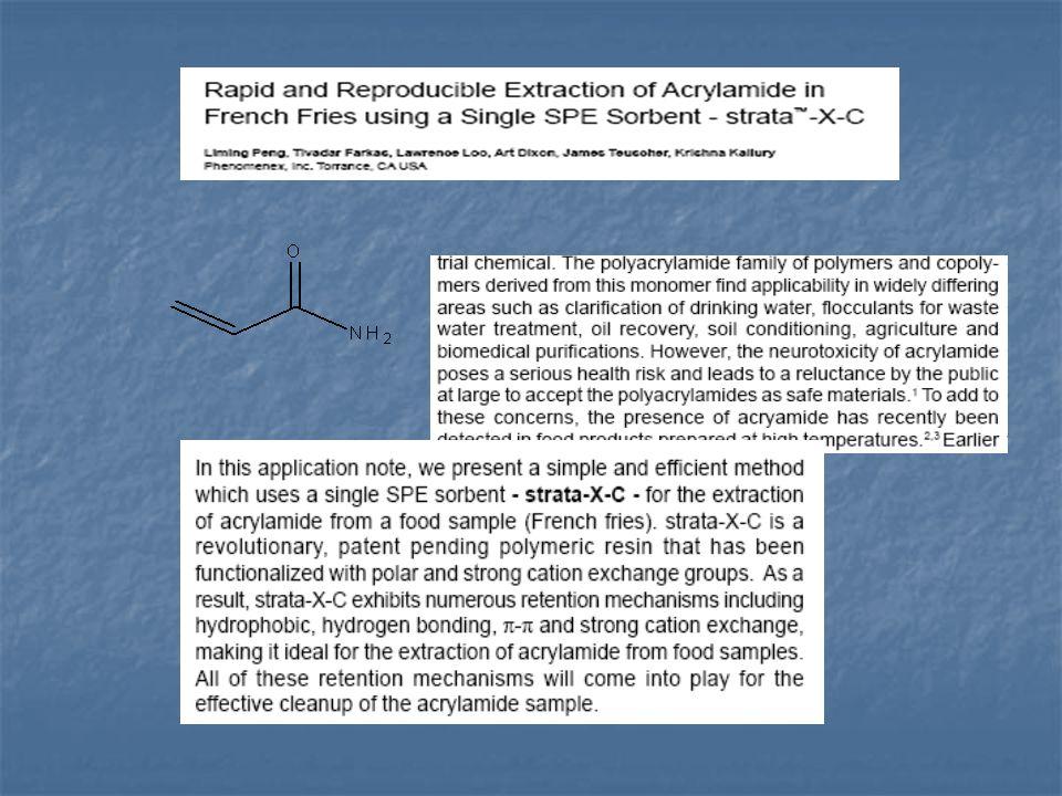A legújabb vizsgálatok arra utalnak, hogy redukáló cukrok jelenlétében alacsony víztartalom mellett aszparaginból hevítés hatására keletkezik az akrilamid.