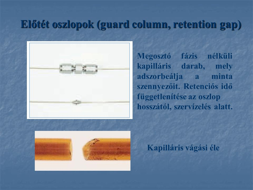 Előtét oszlopok (guard column, retention gap)