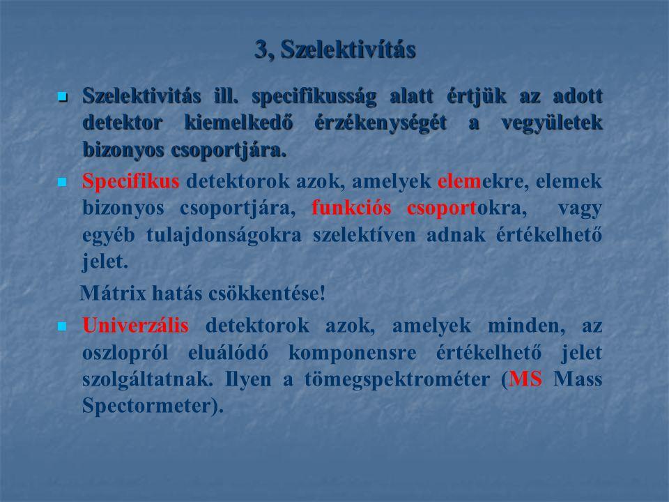 3, Szelektivítás Szelektivitás ill. specifikusság alatt értjük az adott detektor kiemelkedő érzékenységét a vegyületek bizonyos csoportjára.