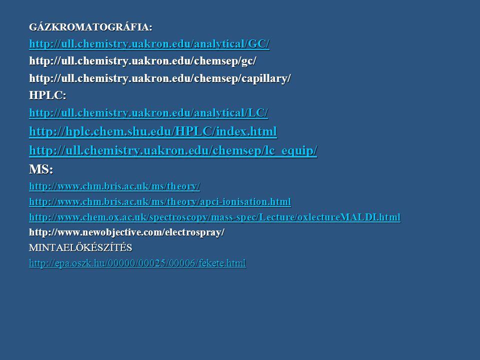 GÁZKROMATOGRÁFIA: http://ull.chemistry.uakron.edu/analytical/GC/ http://ull.chemistry.uakron.edu/chemsep/gc/
