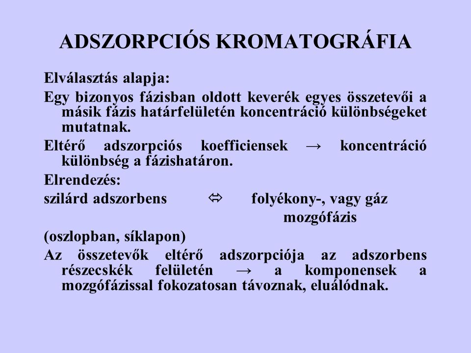 ADSZORPCIÓS KROMATOGRÁFIA