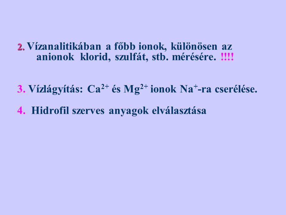 3. Vízlágyítás: Ca2+ és Mg2+ ionok Na+-ra cserélése.