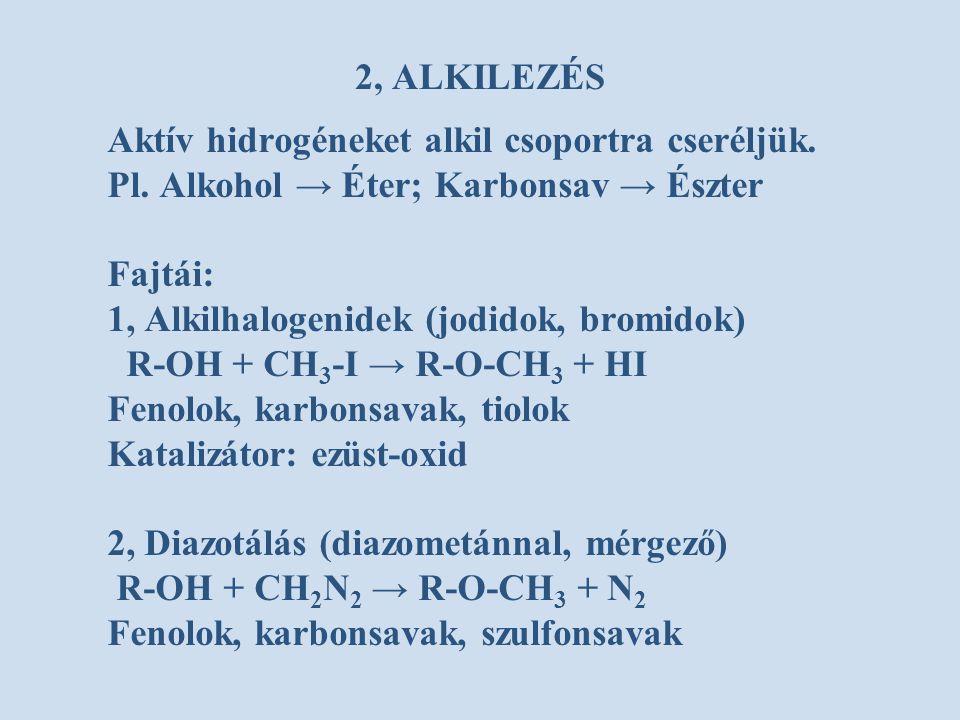Aktív hidrogéneket alkil csoportra cseréljük.