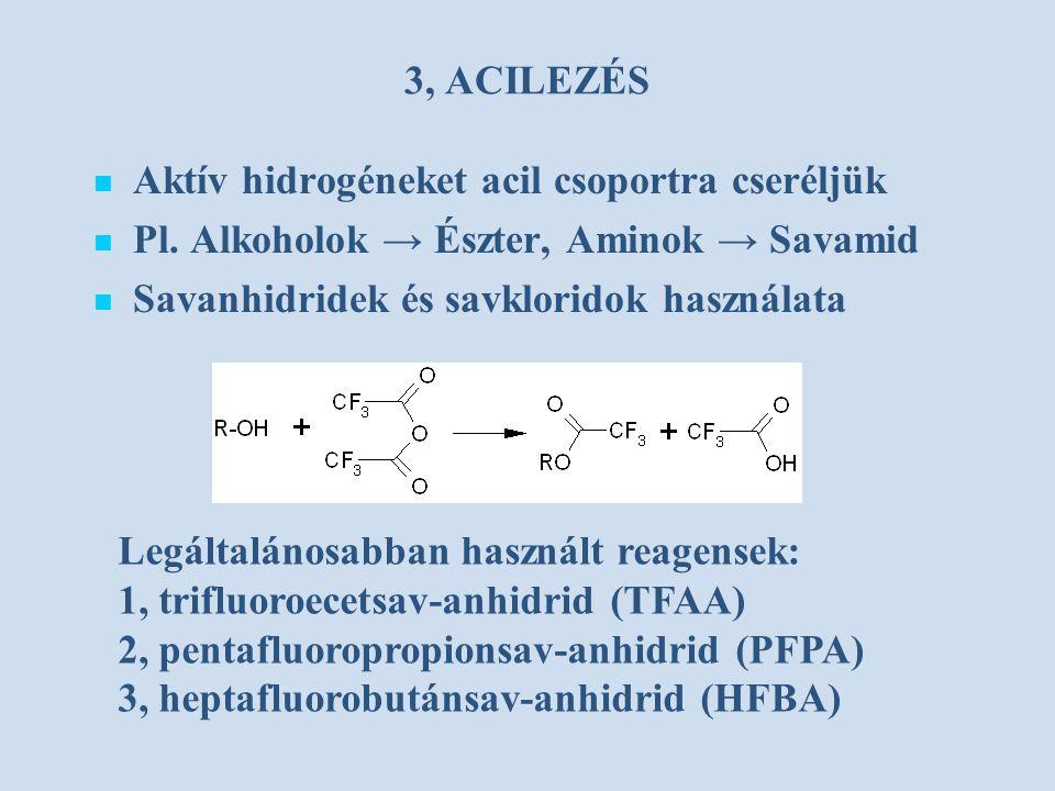 3, ACILEZÉS Aktív hidrogéneket acil csoportra cseréljük. Pl. Alkoholok → Észter, Aminok → Savamid.