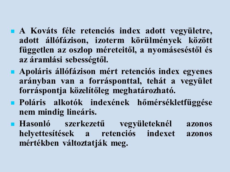 A Kováts féle retenciós index adott vegyületre, adott állófázison, izoterm körülmények között független az oszlop méreteitől, a nyomáseséstől és az áramlási sebességtől.
