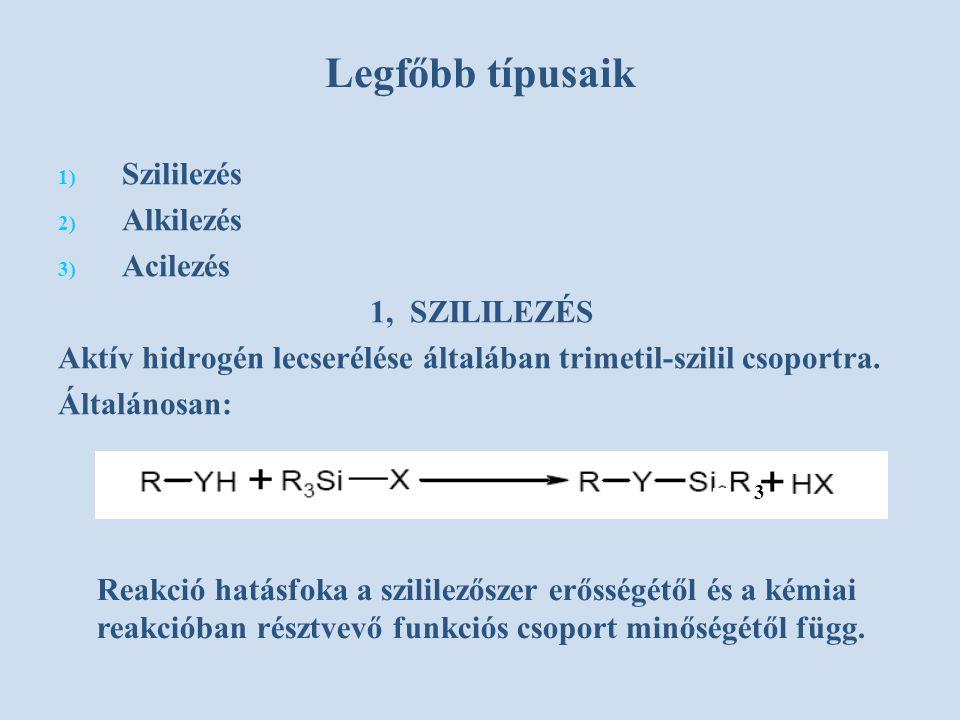 Legfőbb típusaik Szililezés Alkilezés Acilezés 1, SZILILEZÉS