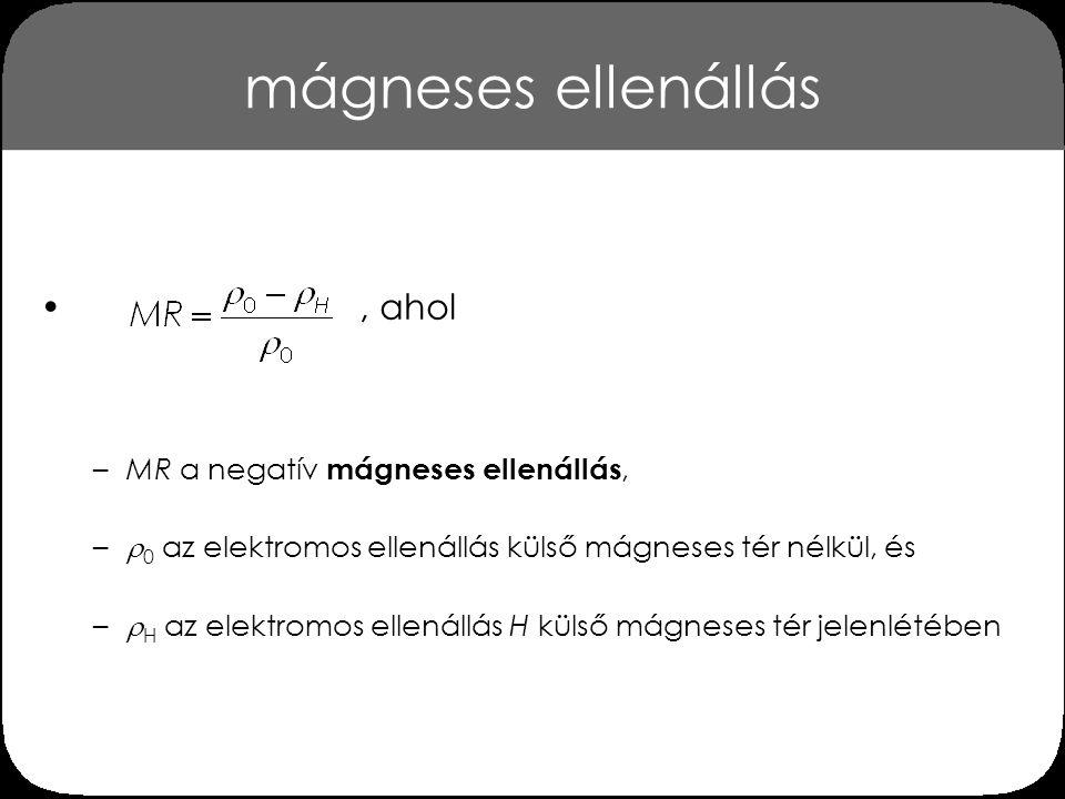 mágneses ellenállás , ahol MR a negatív mágneses ellenállás,
